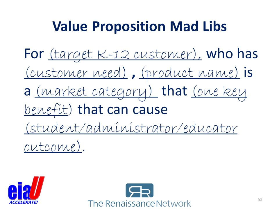 Value Proposition Mad Libs