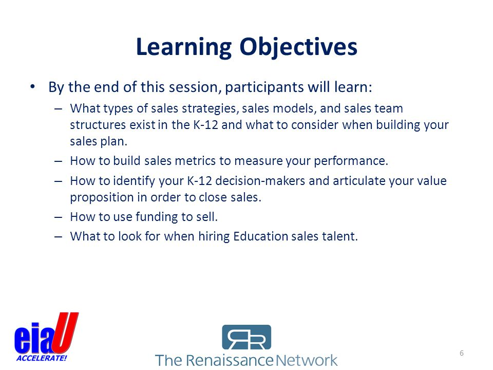 Learning Objectives By the end of this session, participants will learn: