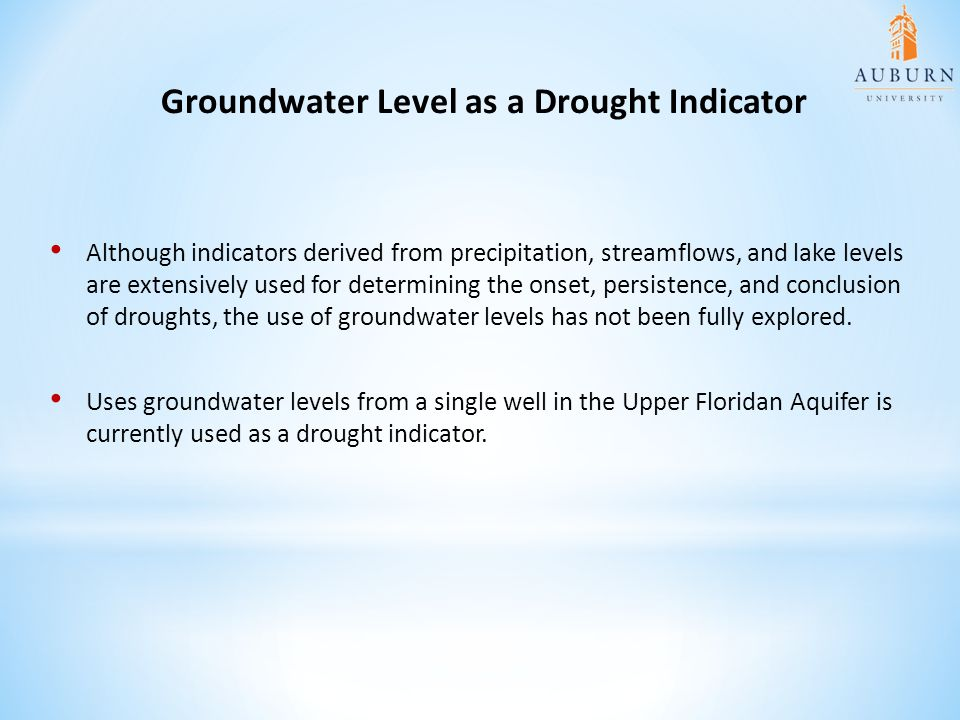 Groundwater Level as a Drought Indicator