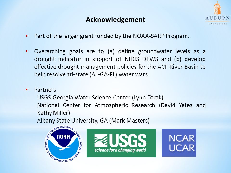 Acknowledgement Part of the larger grant funded by the NOAA-SARP Program.