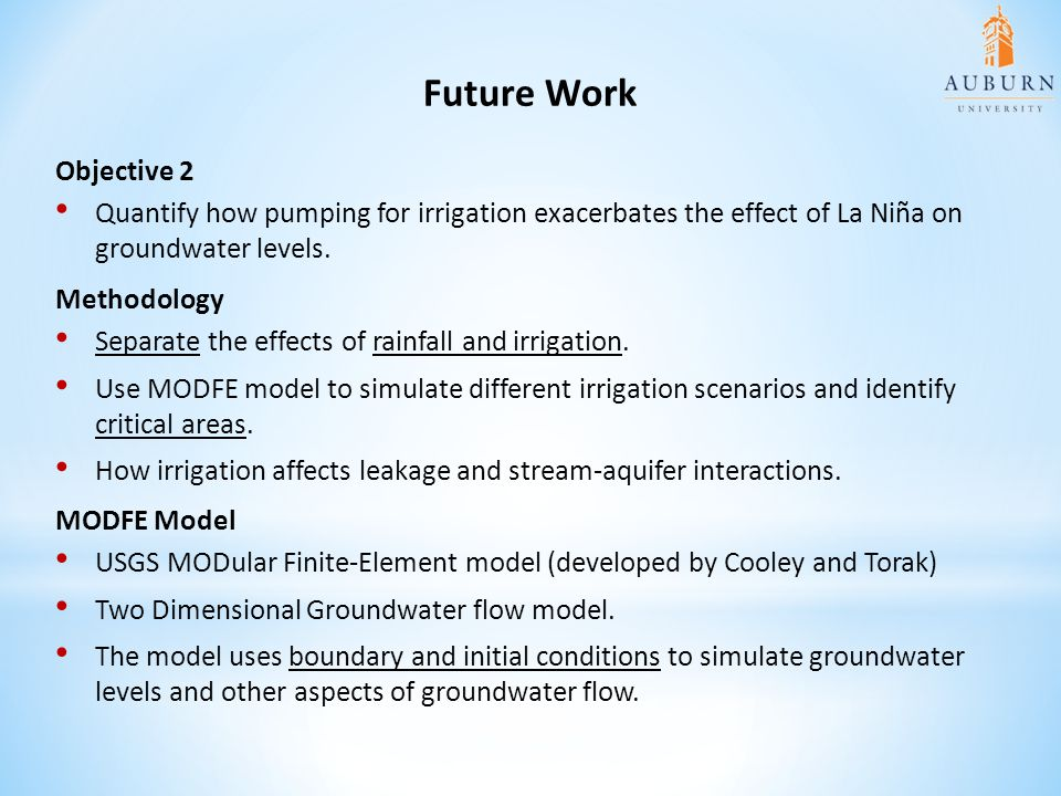 Future Work Objective 2. Quantify how pumping for irrigation exacerbates the effect of La Niña on groundwater levels.