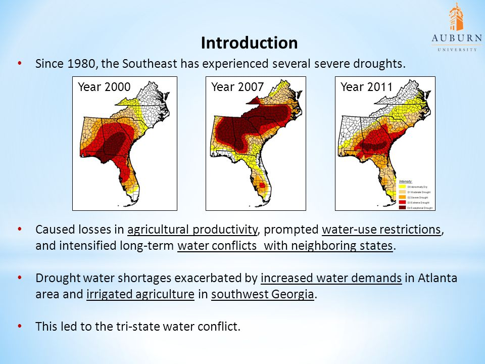 Introduction Since 1980, the Southeast has experienced several severe droughts. Year 2000. Year 2007.