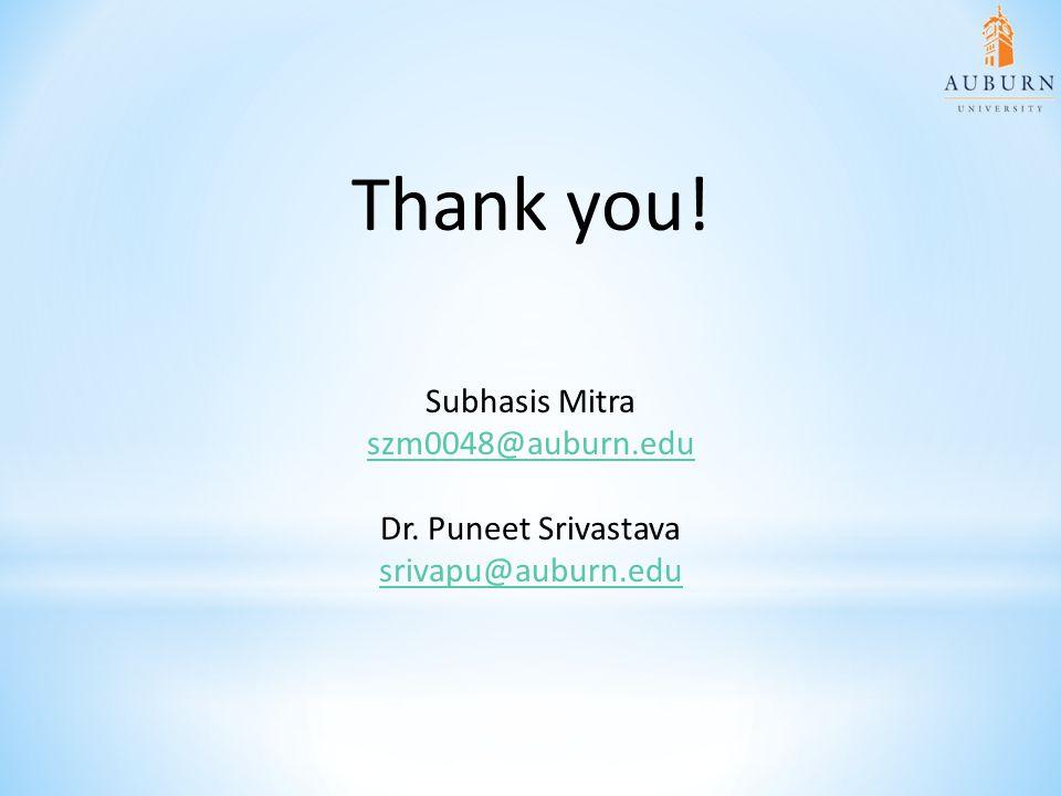 Thank you! Subhasis Mitra szm0048@auburn.edu Dr. Puneet Srivastava