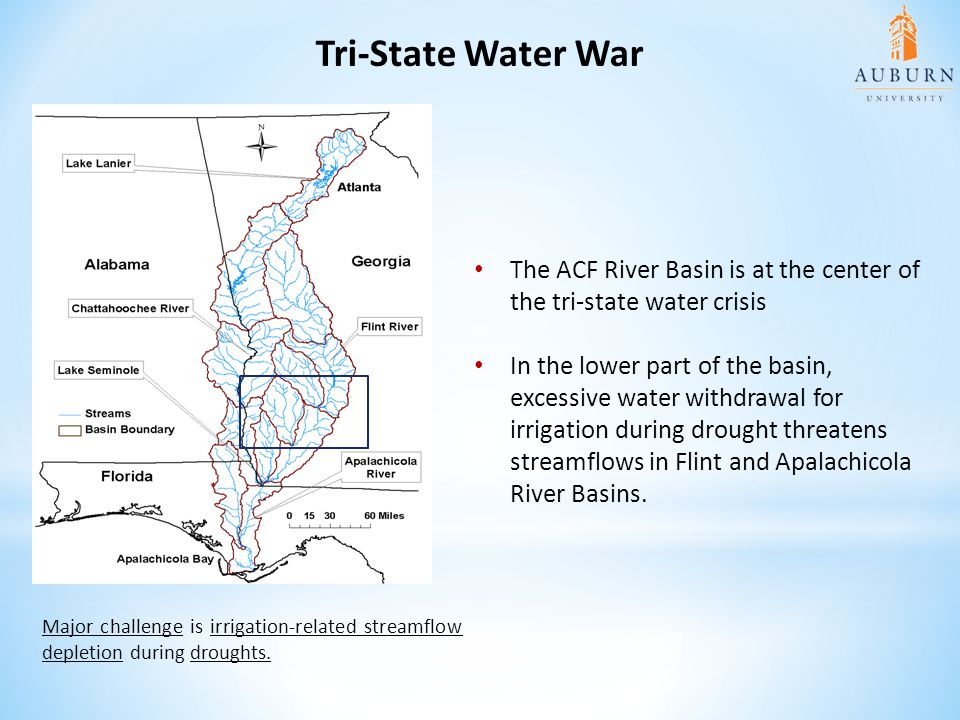 Tri-State Water War The ACF River Basin is at the center of the tri-state water crisis.