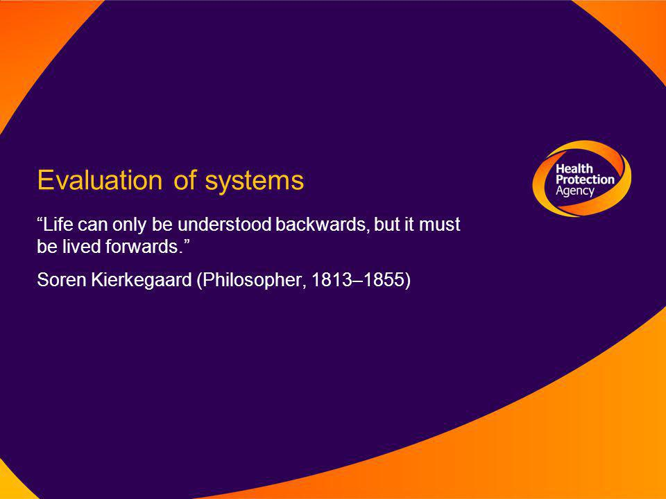 Evaluation of systems Life can only be understood backwards, but it must be lived forwards. Soren Kierkegaard (Philosopher, 1813–1855)