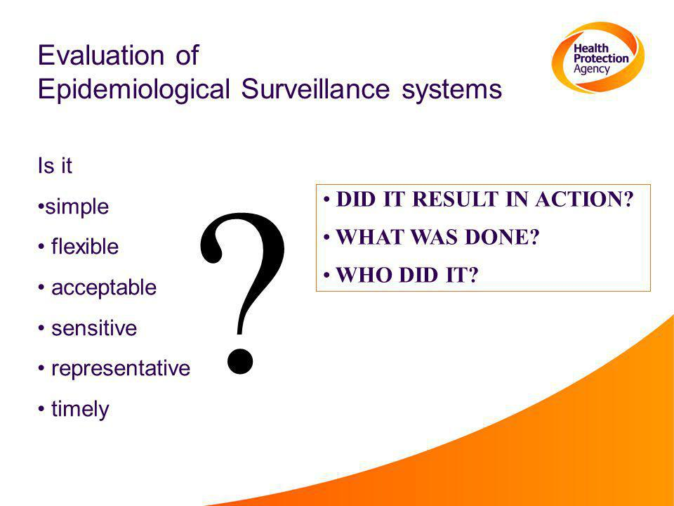 Evaluation of Epidemiological Surveillance systems