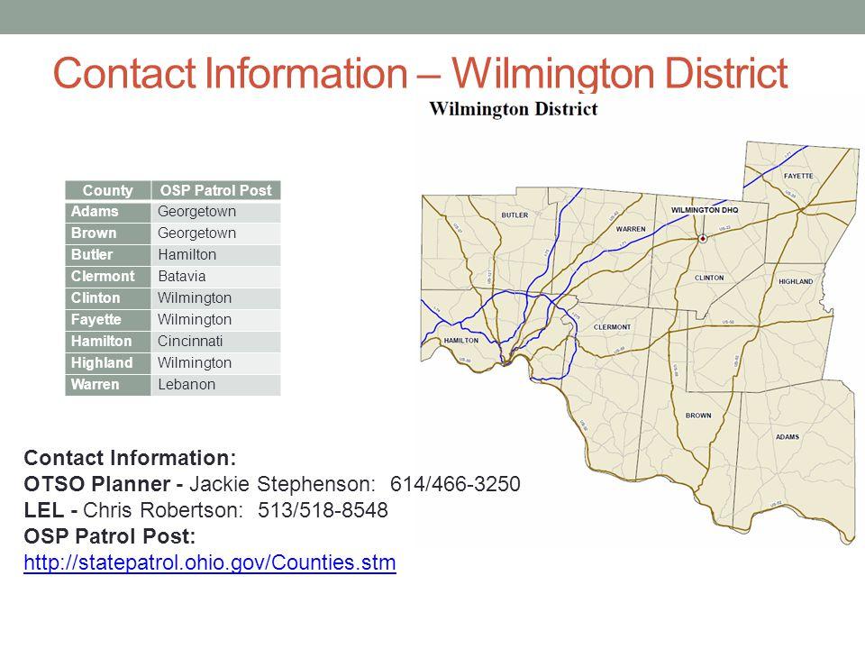 Contact Information – Wilmington District County. OSP Patrol Post. Adams. Georgetown. Brown. Butler.