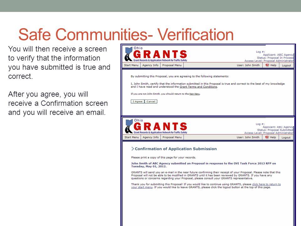 Safe Communities- Verification