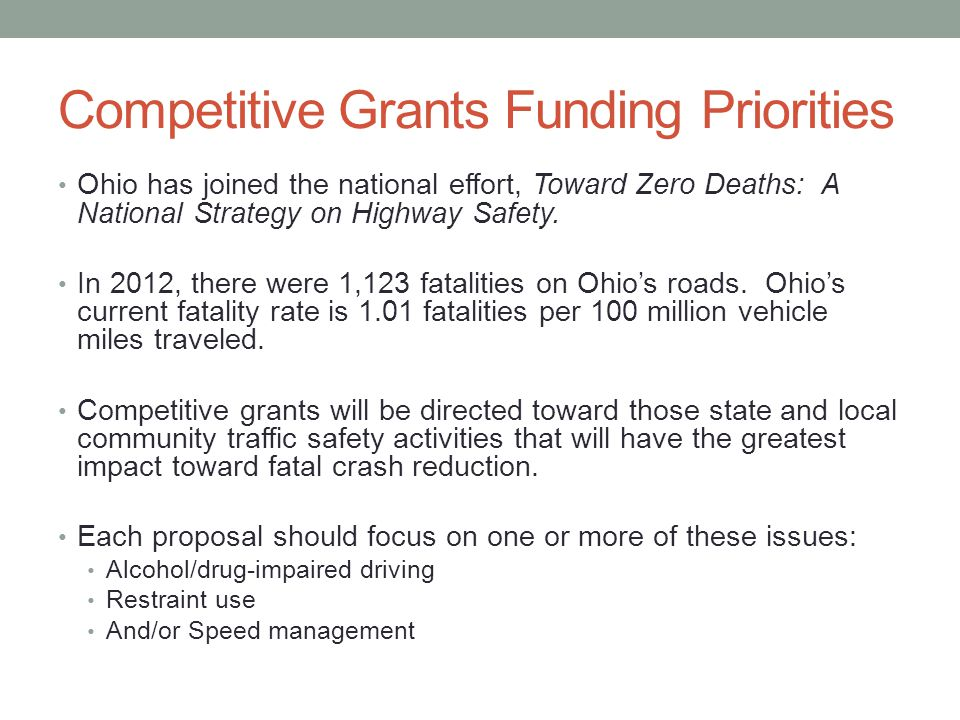Competitive Grants Funding Priorities