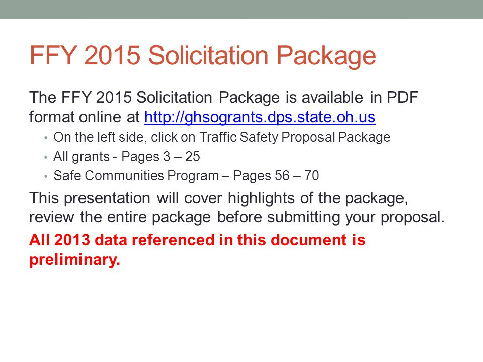 FFY 2015 Solicitation Package