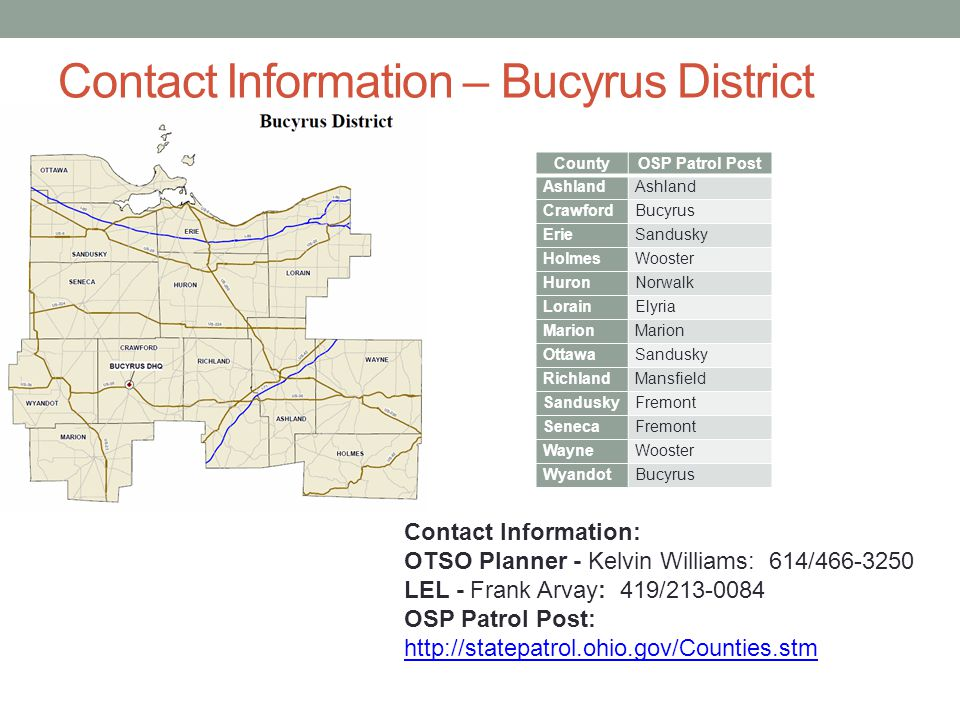 Contact Information – Bucyrus District County. OSP Patrol Post. Ashland. Crawford. Bucyrus. Erie.
