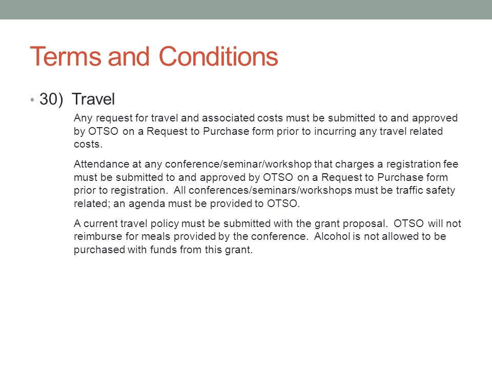 Terms and Conditions 30) Travel