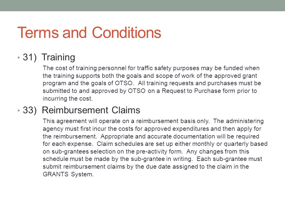Terms and Conditions 31) Training 33) Reimbursement Claims
