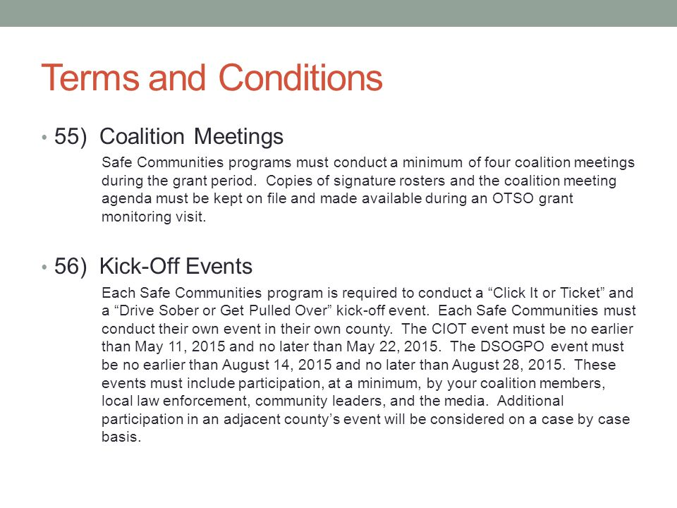 Terms and Conditions 55) Coalition Meetings 56) Kick-Off Events