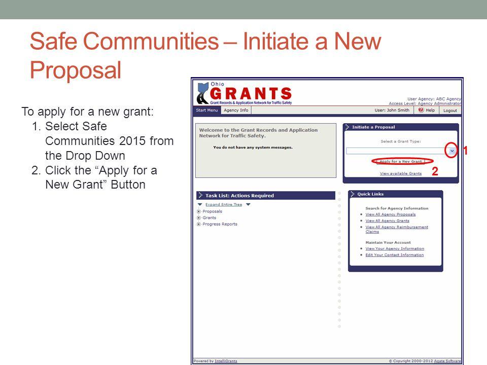 Safe Communities – Initiate a New Proposal