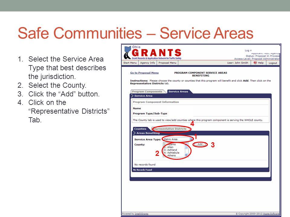 Safe Communities – Service Areas