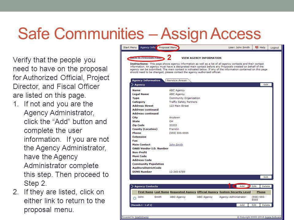 Safe Communities – Assign Access