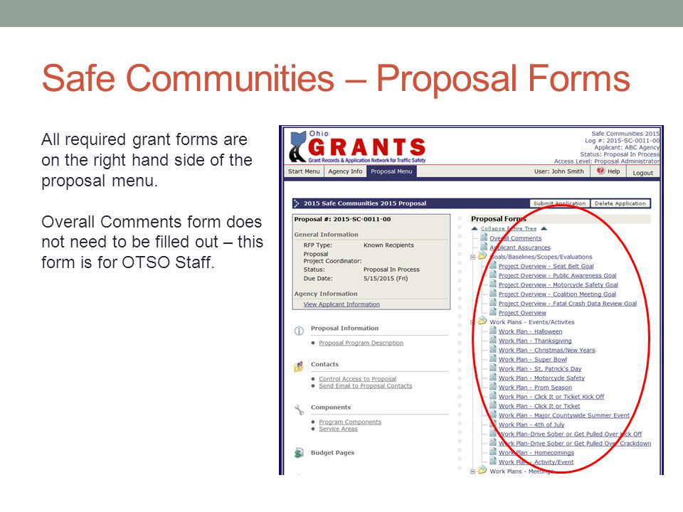 Safe Communities – Proposal Forms