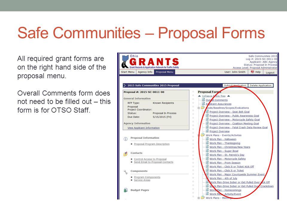 Safe Communities – Proposal Forms