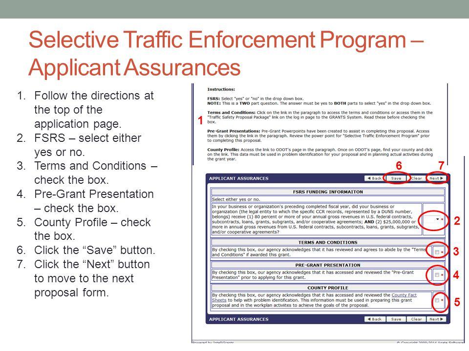 Selective Traffic Enforcement Program – Applicant Assurances