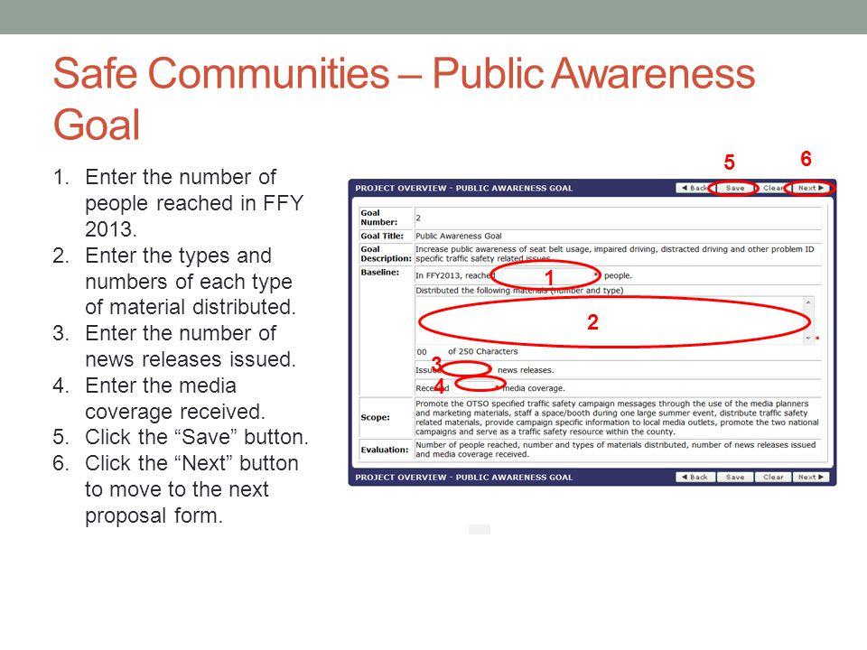 Safe Communities – Public Awareness Goal