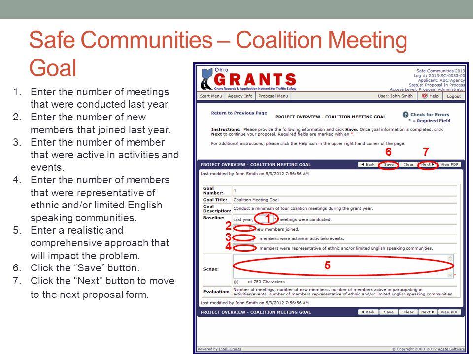 Safe Communities – Coalition Meeting Goal