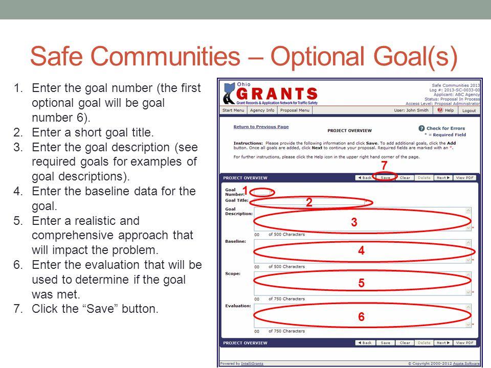 Safe Communities – Optional Goal(s)