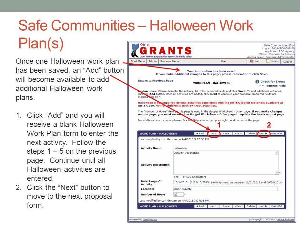 Safe Communities – Halloween Work Plan(s)