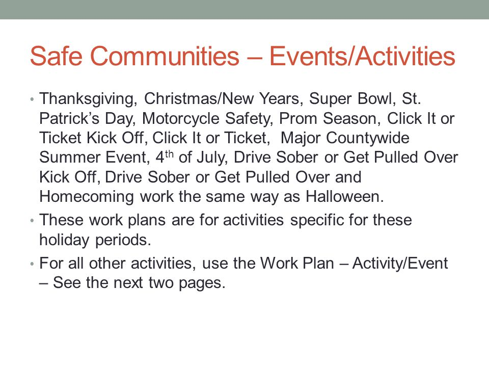Safe Communities – Events/Activities