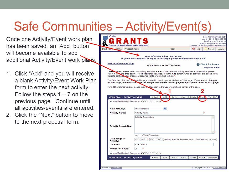 Safe Communities – Activity/Event(s)