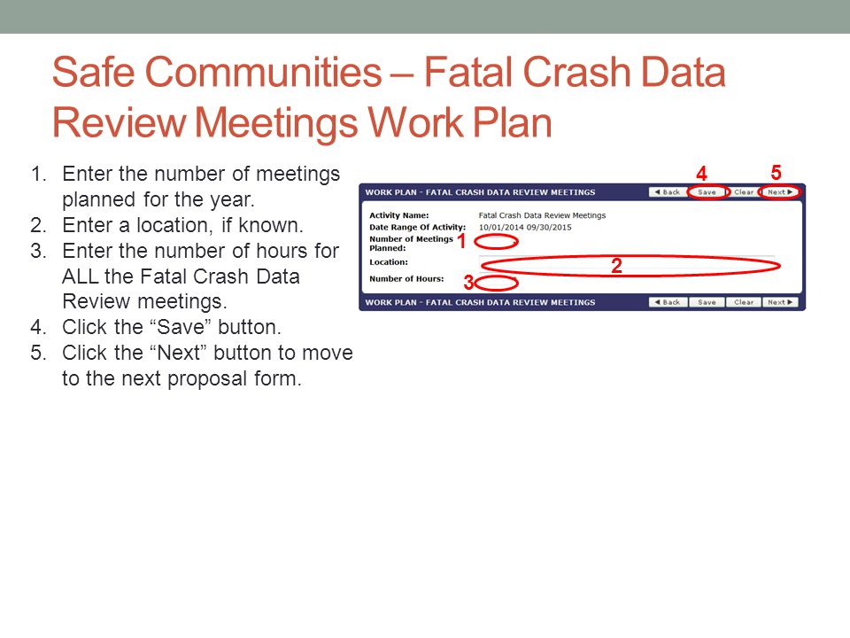 Safe Communities – Fatal Crash Data Review Meetings Work Plan
