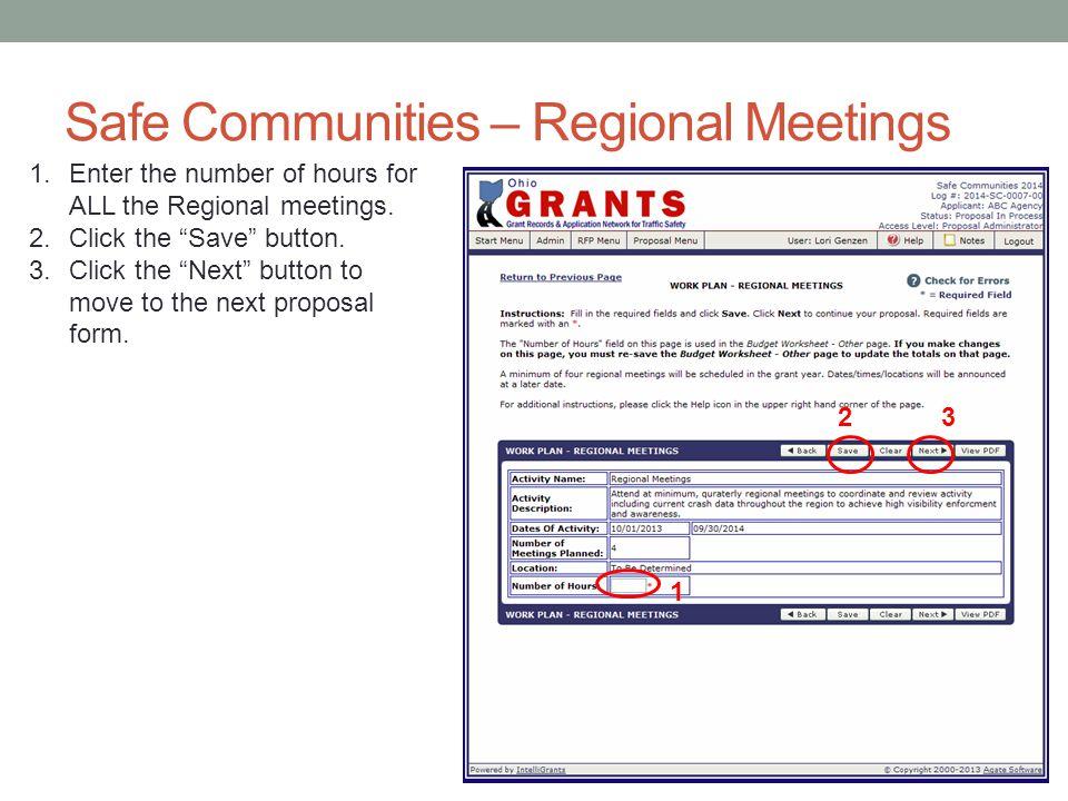 Safe Communities – Regional Meetings