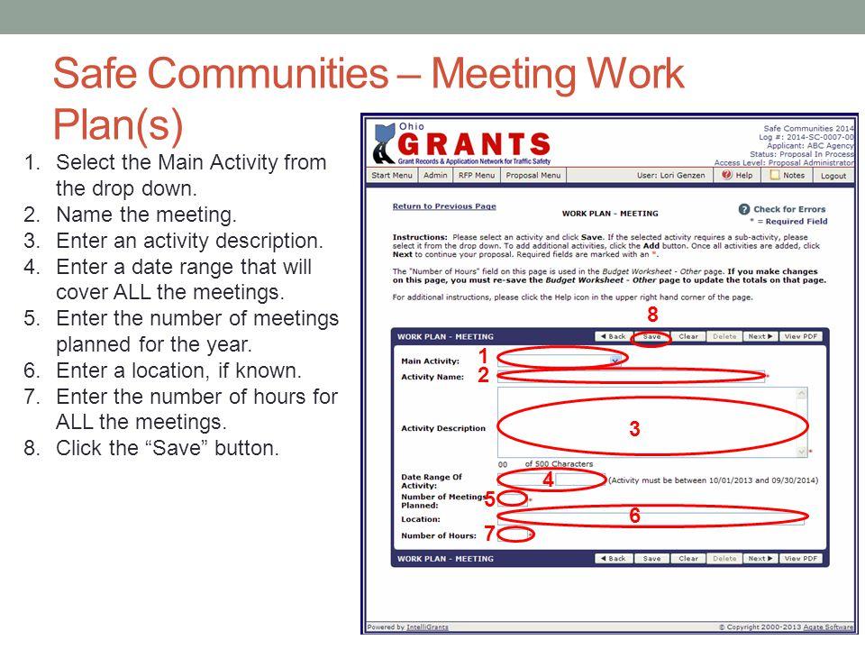 Safe Communities – Meeting Work Plan(s)