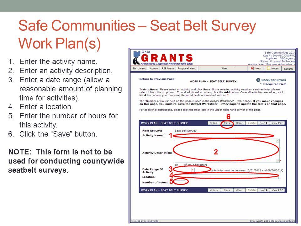 Safe Communities – Seat Belt Survey Work Plan(s)