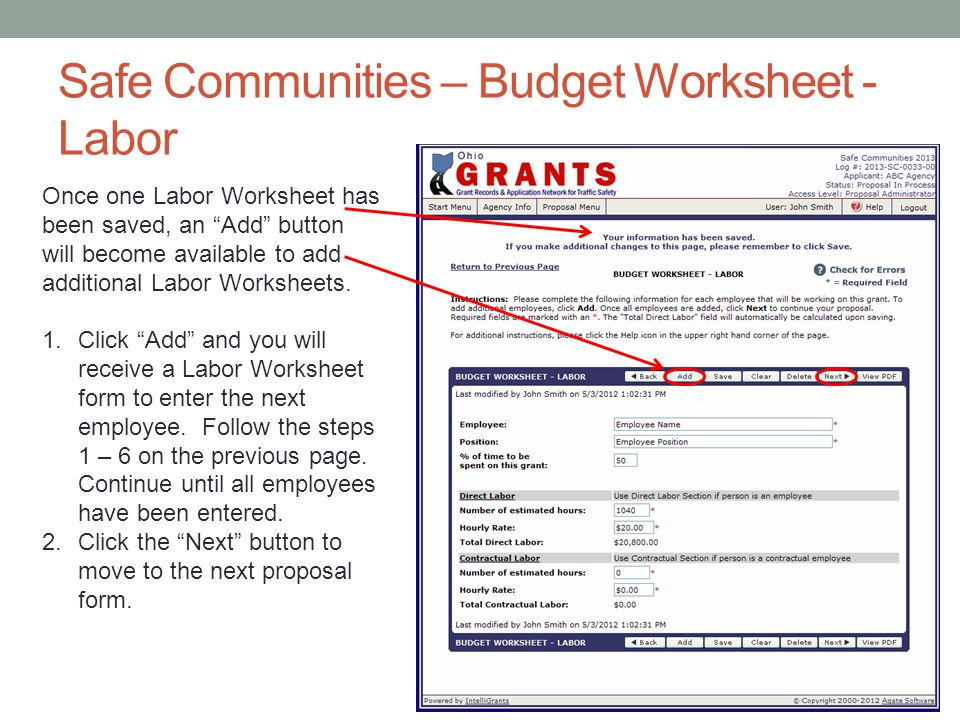 Safe Communities – Budget Worksheet - Labor