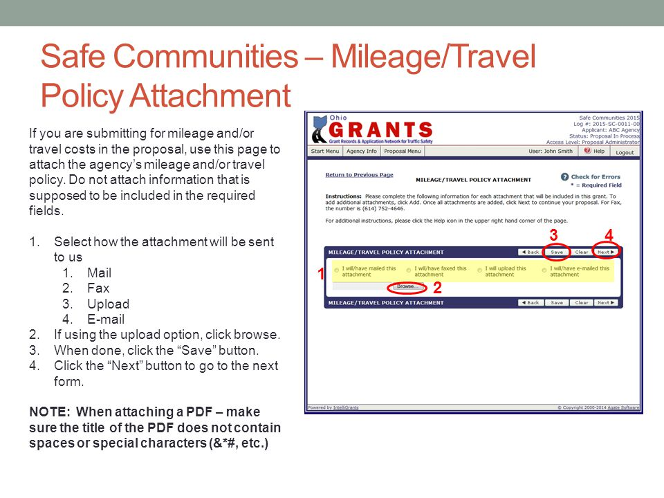 Safe Communities – Mileage/Travel Policy Attachment