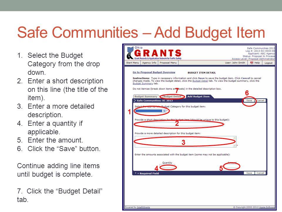 Safe Communities – Add Budget Item