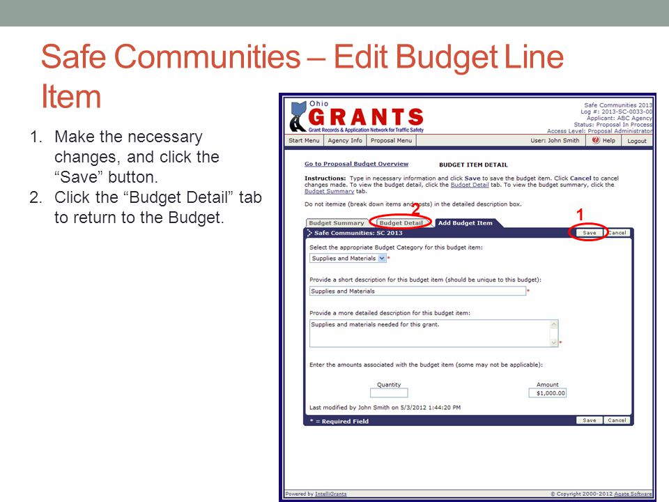 Safe Communities – Edit Budget Line Item