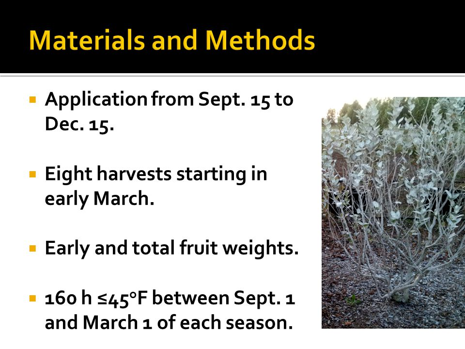 Materials and Methods Application from Sept. 15 to Dec. 15.