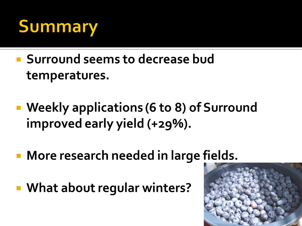 Summary Surround seems to decrease bud temperatures.
