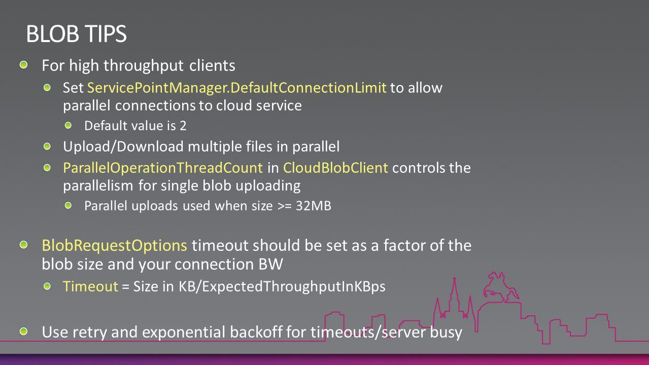 BLOB TIPS For high throughput clients