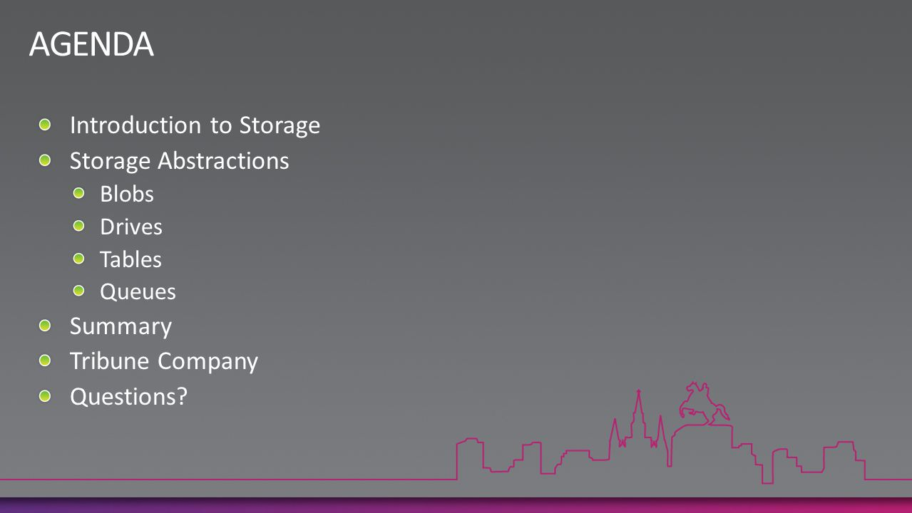 AGENDA Introduction to Storage Storage Abstractions Summary
