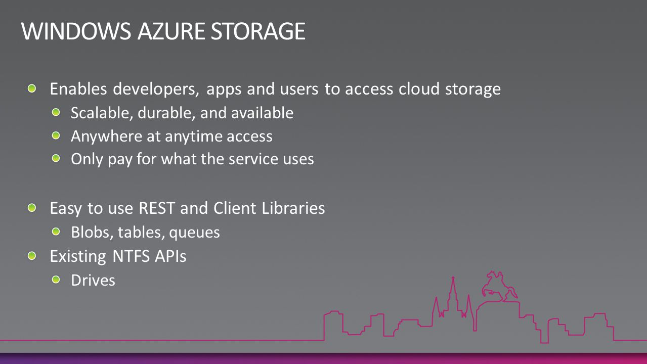 WINDOWS AZURE STORAGE Enables developers, apps and users to access cloud storage. Scalable, durable, and available.