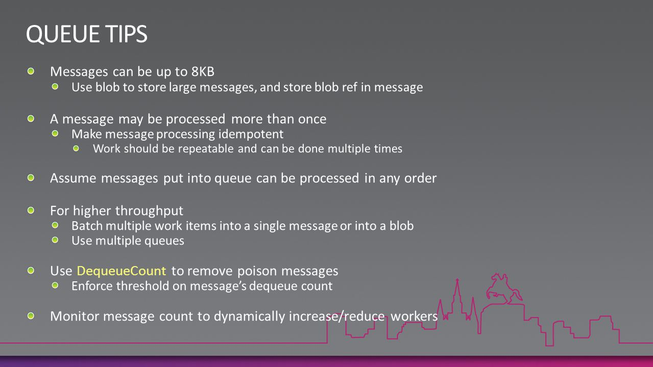 QUEUE TIPS Messages can be up to 8KB