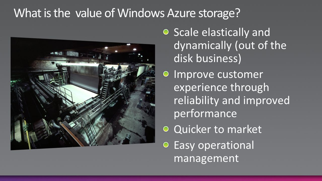 What is the value of Windows Azure storage