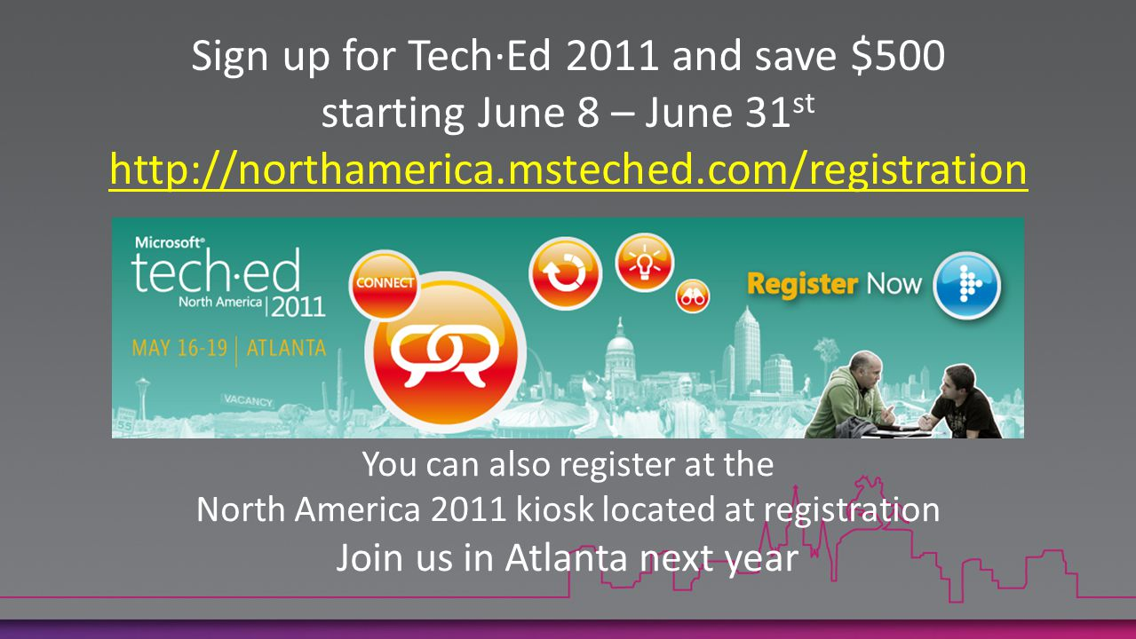 Sign up for Tech·Ed 2011 and save $500 starting June 8 – June 31st