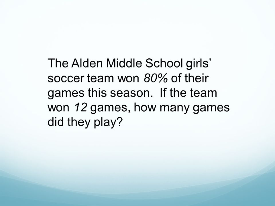 The Alden Middle School girls' soccer team won 80% of their games this season.