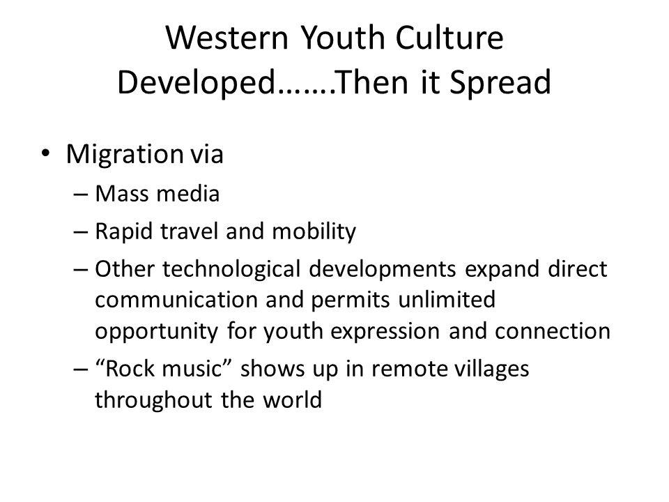 Western Youth Culture Developed…….Then it Spread