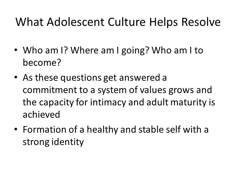 What Adolescent Culture Helps Resolve