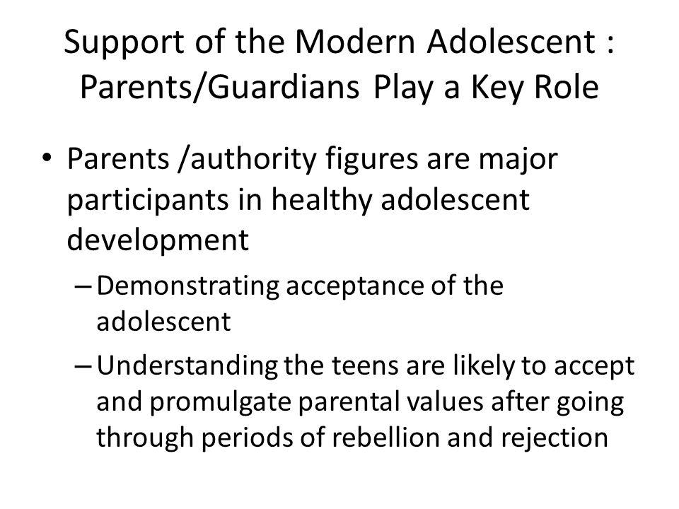 Support of the Modern Adolescent : Parents/Guardians Play a Key Role